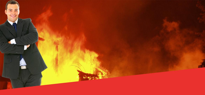 man-burning-building